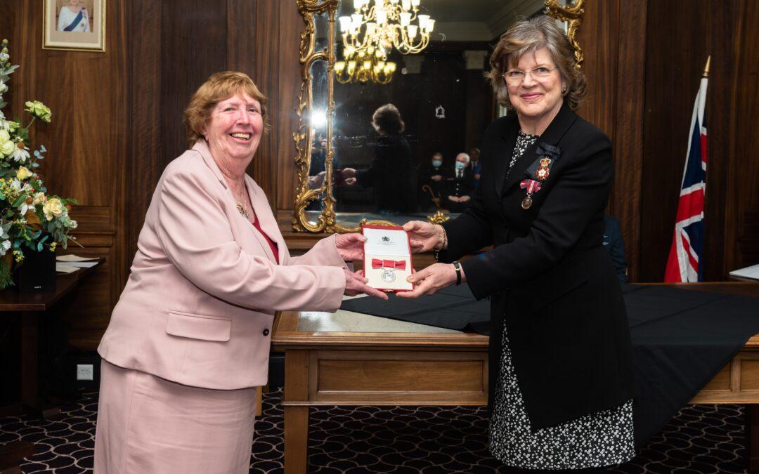 Anne Trevett SaSS Chair being awarded the BEM
