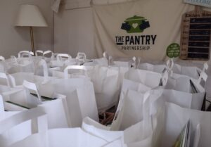 Just some of the 400 bags ready to go